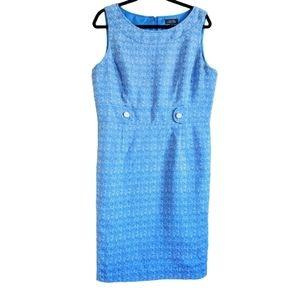 Tahari Sleeveless Dress, Blue, White